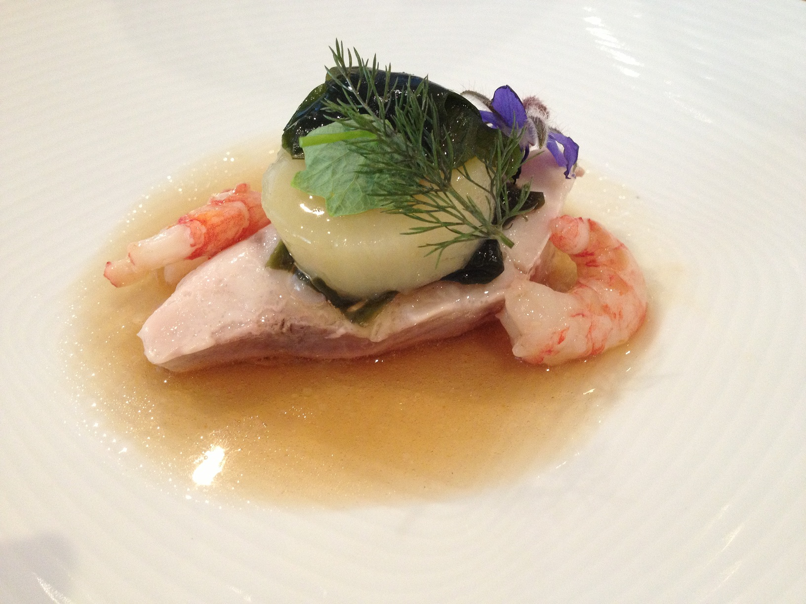 mulloway, potato, sea lettuce broth, carried shrimp resized