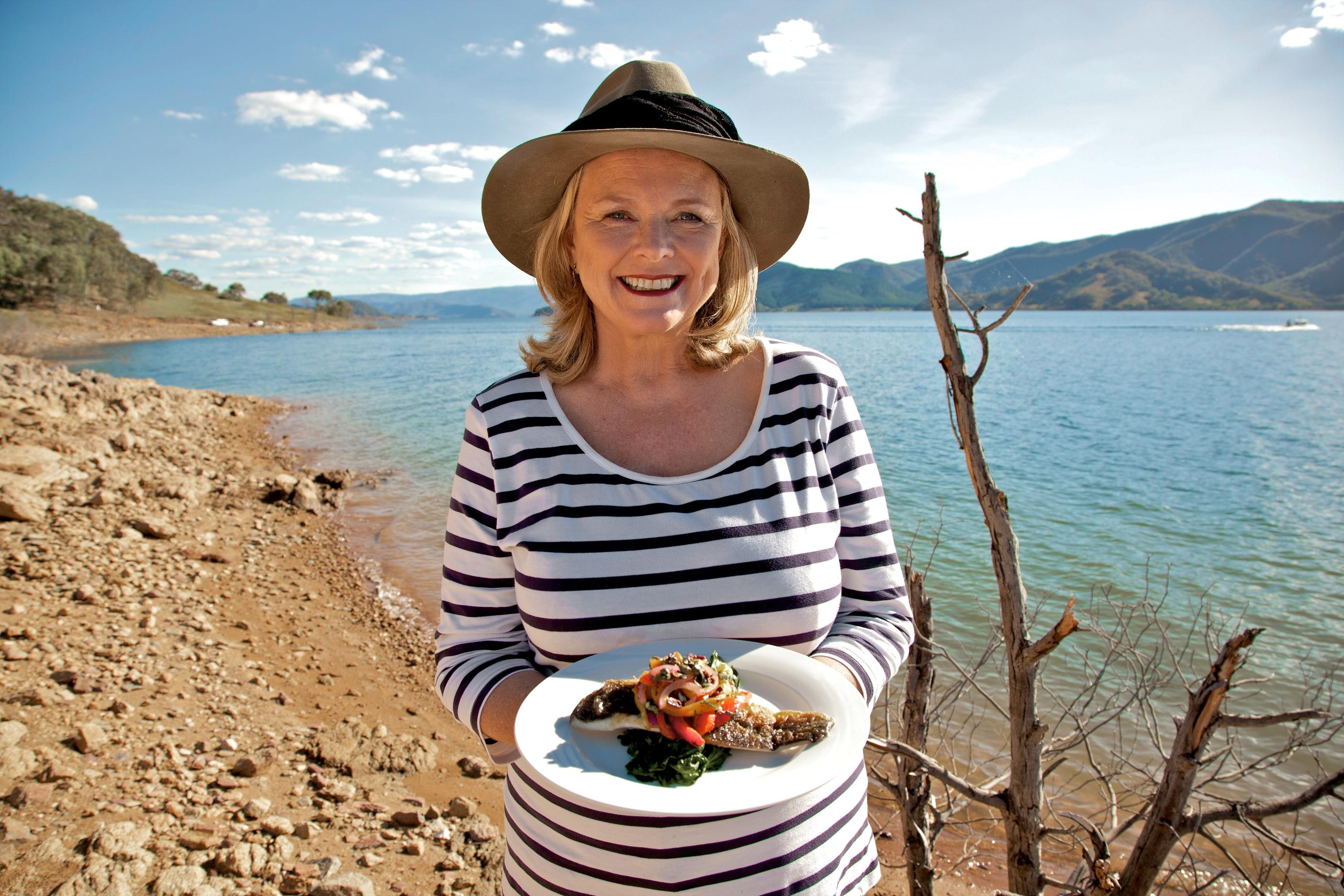 Lyndey Milan at Blowering Dam with Murray Cod with 'peperonata' and wilted spinach resized