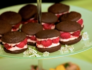 Chocolate sponge kisses with rose and raspberry filling