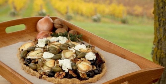 Rustic goats cheese tart with pinot eschallots and walnuts resized