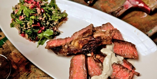 Spice rib eye with quinoa and stinging nettle salad 2