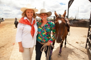 Filming Taste of Australia champion lady rider, Simone Harvey at the Tamworth Rodeo