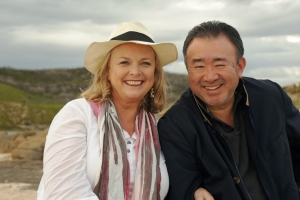 Filming Taste of Australia with Tetsuya Wakuda on Prevelly Beach