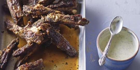 lamb ribs with feta sauce